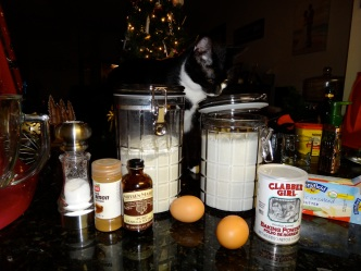 Ingredients for Sugar Cookies... not the cat