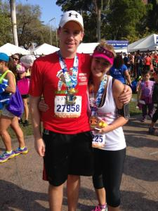 My Hubby Michael and I at the Miami Half Marathon in January 2013 (yes i call him hubby)