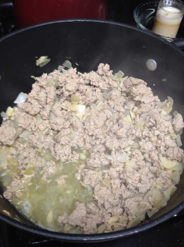Cook Up the ground turkey and mix thoroughly