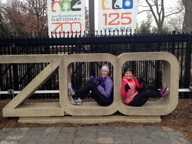 Christine and I at the zoo's Connecticut Avenue entrance. BTW... I'm on the right in the pink :)