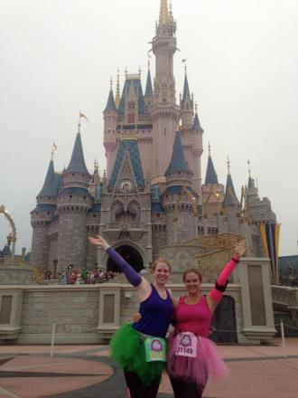 That's me on the right in a tutu at Disney during the Princess Half Marathon 2013.