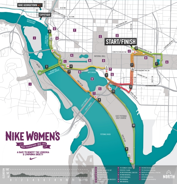 Looking to run 13.1 miles around Washington, DC...