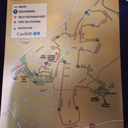 The Course of the Frederick half Marathon