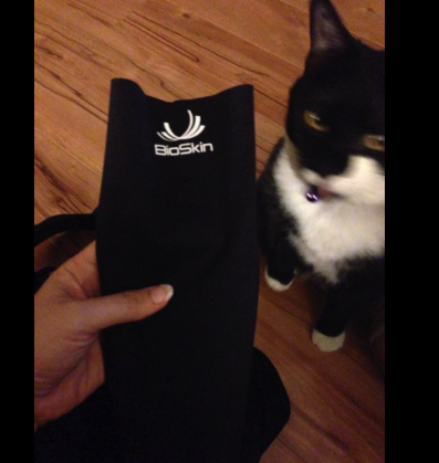 My cat is also very curious about compression and calf sleeves