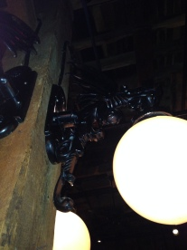 Every restaurant should have gargoyle lamps!