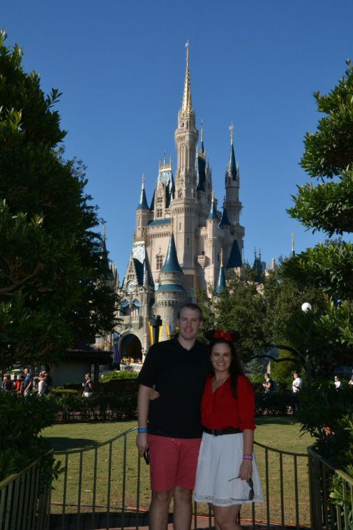 Hubby and I in front of Cinderella's Castle