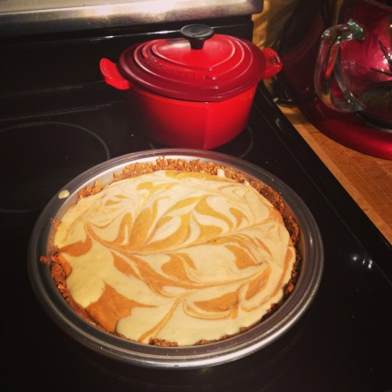 yeah that's a marbled pumpkin cheesecake with a homemade graham cracker crust #NoBigDeal